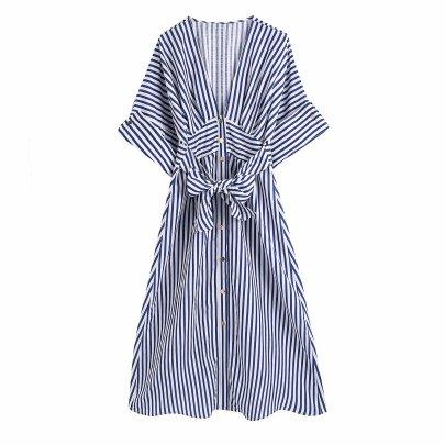 Spring Linen Striped Dress NSAM59916