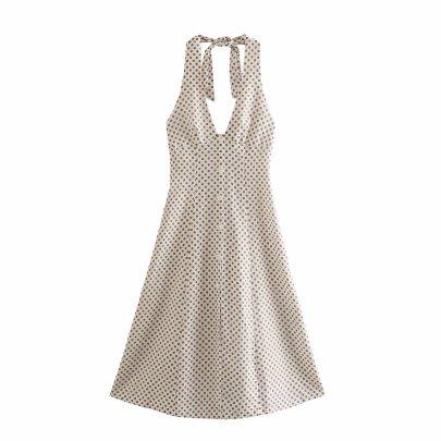Spring Polka Dot Linen Halterneck Lace Dress NSAM59920