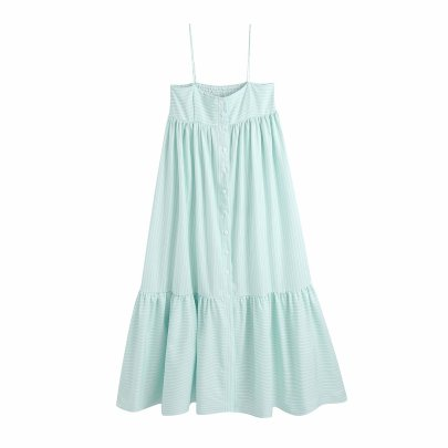 Spring Striped Mid-length Suspender Dress NSAM59922