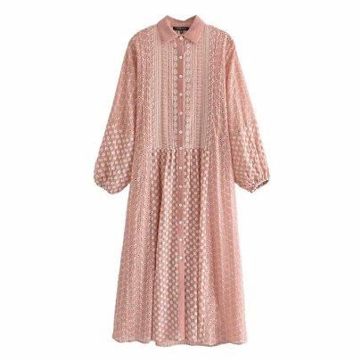 Embroidery Midi Shirt Long Sleeve Dress NSAM59930