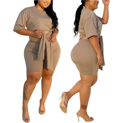 Plus Size Spring And Summer New Lace Casual Two-piece Clothing NSMF59940