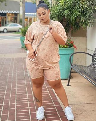 Spring New Plus Size Short-sleeved Shorts Casual Set NSMF59941