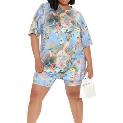 Plus Size Summer New Printed T-shirt Fashion Two-piece Set NSMF59942
