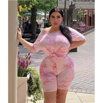 Summer Plus Size Tie-dye High-waist Pink Fashion Casual Two-piece Set NSMF59944