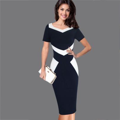 Summer New V-neck Short-sleeved Stitching Slim Dress NSMF59951