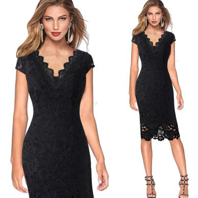 New Black Lace V-neck Casual Dress NSMF59954