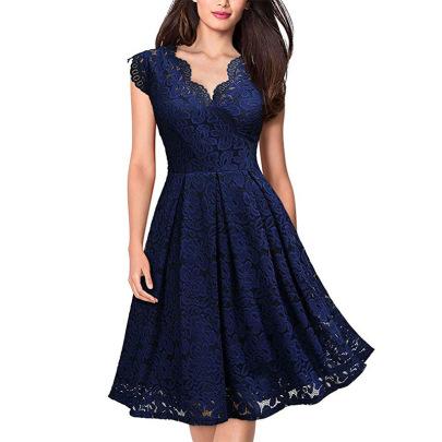 Retro Lace V-neck Sleeveless Dress NSMF59956