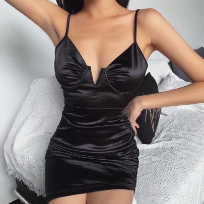Sexy Deep V-neck Slim Breast Leisure Short One-step Skirt NSFLY59976