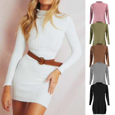 Autumn And Winter New Arrivals Knitted Long-sleeved Slim Dress NSLDY60029