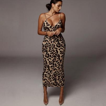 Sleeveless V-neck Dress Fashion Sexy Mid-length Skirt NSHTL60042