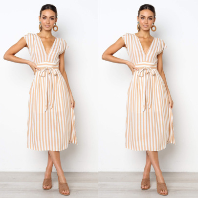 Hot Selling Temperament Deep V Striped Lace Dress NSJRM60064