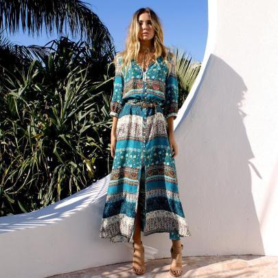 Print Breasted Beach Resort Long Dress NSJRM60065