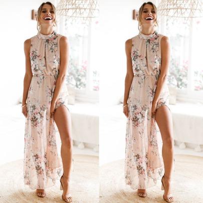 Strap Printing Slit Sleeveless Dress  NSJRM60071