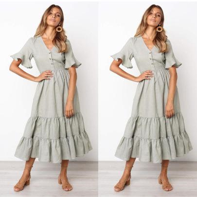 Cotton V-neck Ruffle Dress NSJRM60073