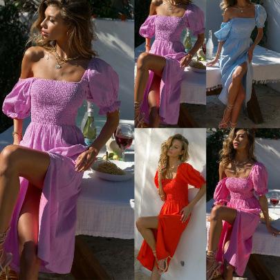 Short-sleeved Flat Collar Four-color Split Dress NSJRM60074