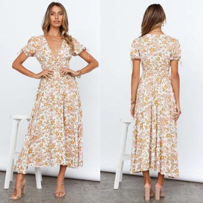 Digital Printing Short-sleeved V-neck Large-length Skirt Dress NSJRM60080