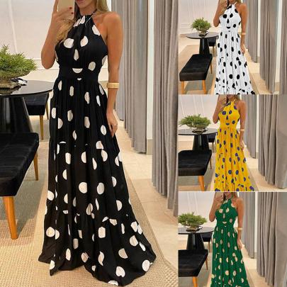 Polka Dot Halterneck Print Big Swing Dress NSJIN60160