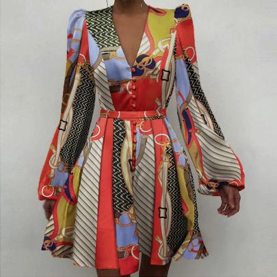 Long Sleeve V-neck Fashion Short Dress NSJIN60155