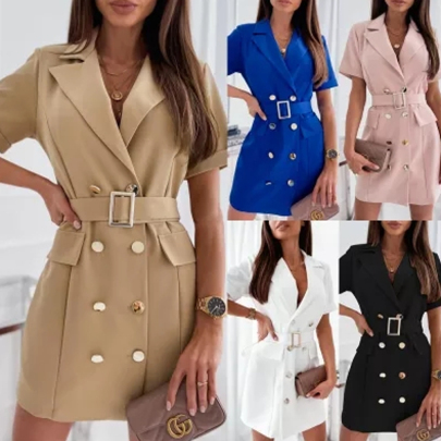 New Fashion Waist Solid Color All-match Suit Dress NSJIN60157