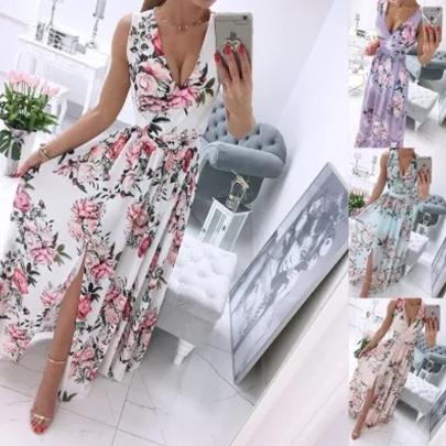 Summer Sexy Chiffon Printed Split Long Dress NSJIN60156