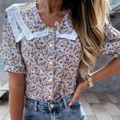 Fashion Floral Lace Short Sleeve Shirt NSJIN60147