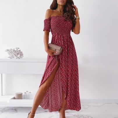 Fashion Off-the-shoulder Print Sexy Split Dress NSJIN60146