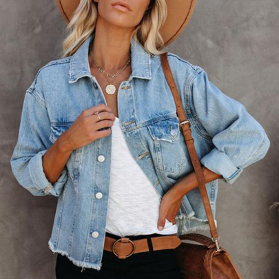 Fashion Loose Solid Color All-match Denim Jacket NSJIN60143