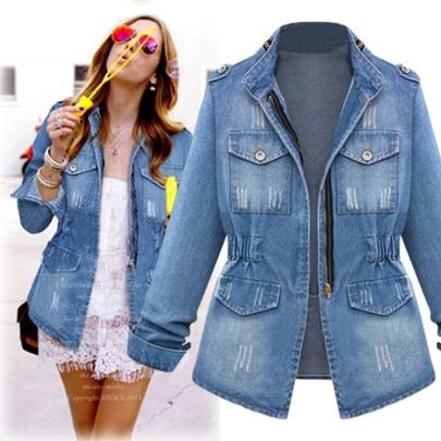 Xfashion Solid Color Versatile Long-sleeved Denim Jacket NSJIN60139