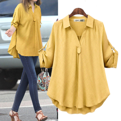 Fashion Loose And Thin Solid Color All-match Shirt NSJIN60138