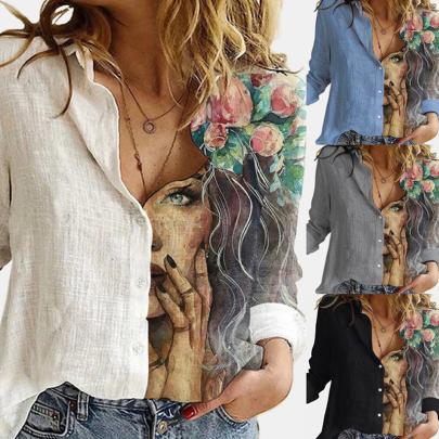 Fashion Stitching Printed Long-sleeved Shirt NSJIN60137