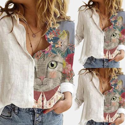 Fashion Print Lapel Long Sleeve Cotton Linen Shirt NSJIN60136