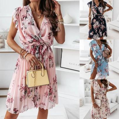 Fashion Fluttering Sleeve Waist Floral Pleated Dress NSJIN60134