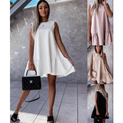 Fashion Round Neck Sleeveless Simple Dress NSJIN60132