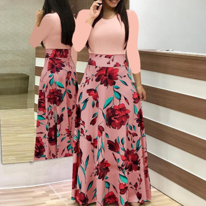 Printed Color Matching Round Neck Long-sleeved Dress NSJIN60130