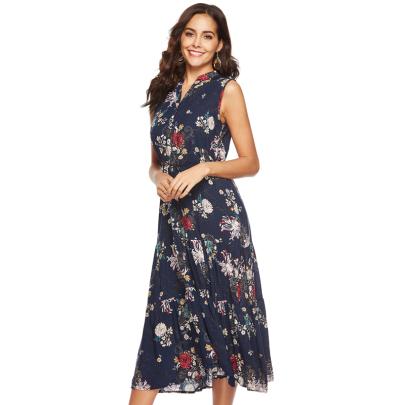 Fashion V-neck Sleeveless Printed Big Plaid Dress NSJIN60672