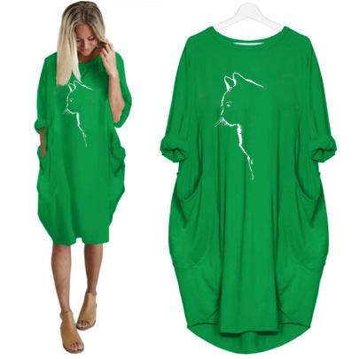 Fashion Long Sleeve Round Neck Printed Dress NSJIN60666