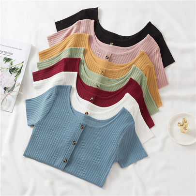 Pure Color Versatile Thin Knit Spring And Summer New T-shirt NSYID60097