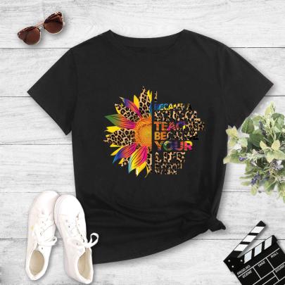 Colorblock Leopard Print Sunflower Print Short Sleeve T-Shirt NSYAY60092
