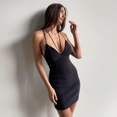 Deep V Hip Summer New Style Halter Back Sexy Dress NSFLY62003