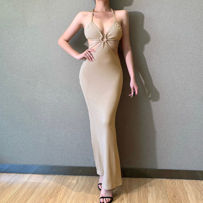 Halterneck Hollow Dress Summer Sexy Temperament Suspender Skirt NSFLY62012