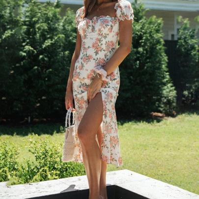 Floral Split Skirt Puff Sleeve Dress NSHHF62056