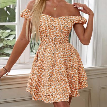Floral One-shoulder Open Back High Waist Short Dress NSHHF62057