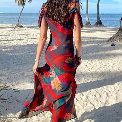 Sexy Falling Shoulder Low-Cut Printed V-neck Dress NSHHF62060
