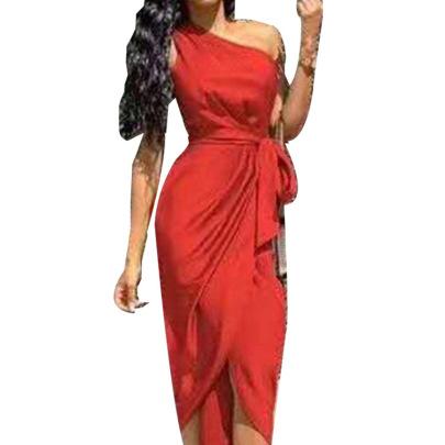 Oblique Shoulder Dress Women's Irregular Strap Dress With Belt NSHHF62061