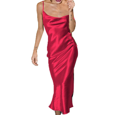 Fashion Solid Color Sling Satin Fishtail Dress  NSHHF62064
