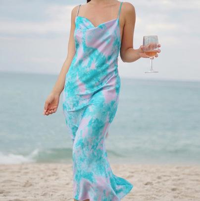 Printing Sling Bag Hip Fishtail Long Blue Dress NSHHF62068