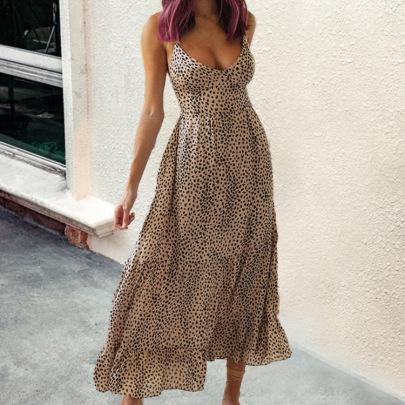 Sexy Leopard Print Mid-length V-neck Sling Cross Backless Lace-up Dress  NSHHF62070