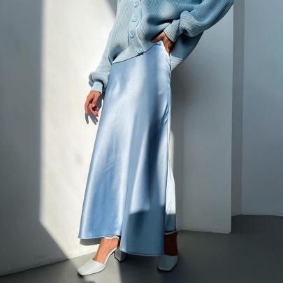 High-waisted Satin Slim And Thin Skirt  NSFLY62077
