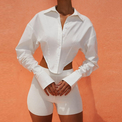 Pleated Long-sleeved Summer Solid Color Long-sleeved Top NSFLY62102