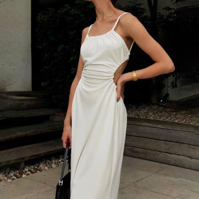 New Word-neck Slim-fit Suspender Mid-length Halter Dress NSFLY62109